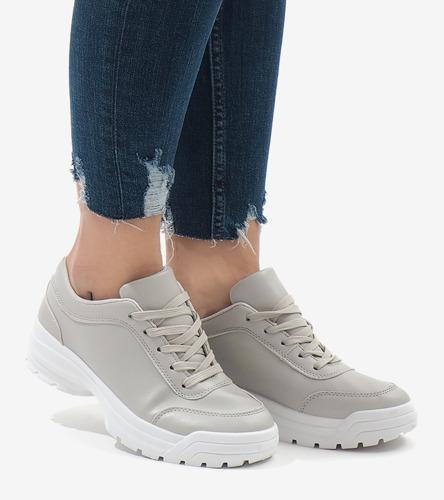 Białe sneakersy ze złotymi wstawkami Alessa